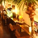 南国リゾートな店内では、ヤシの木が揺らいで熱帯魚がお出迎え♪